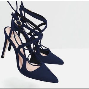 NWOT Zara Blue Suede Lace Up Pointy Toe Heels